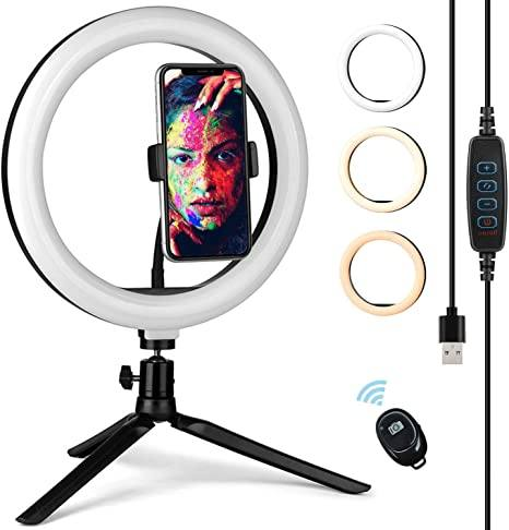 10 inch Led Ring Light with Stand and Phone Holder for Video Recording,VFMFM Dimmable Desk Makeup LED Ring Light for Camera Photography,Compatible for iPhone Android Remote Shutter