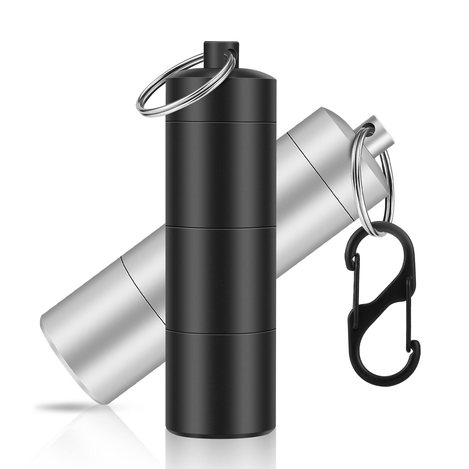 60%OFF【Multipurpose Waterproof Aluminum Pill Case with Keychain】 2 Pcs Small Pill Case for Travel,  Outdoor Camping